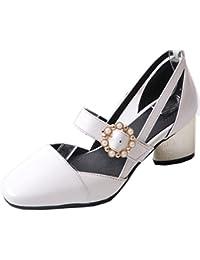Coolcept Zapato Mujer Moda Al Tobillo Dedo del Pie Cerrado D'Orsay Tacon Ancho Medio Sandalias