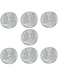 Kataria Jewellers Lakshmi Ganesha Combo Of 7 Silver Coin 10 Grams With Gift Box In 999 Purity Hallmarked Silver