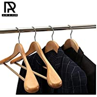 Ash & Roh Set of 6 Finished Wooden Suit Hangers - Wide Wood Hanger for Coats and Pants (Beige)