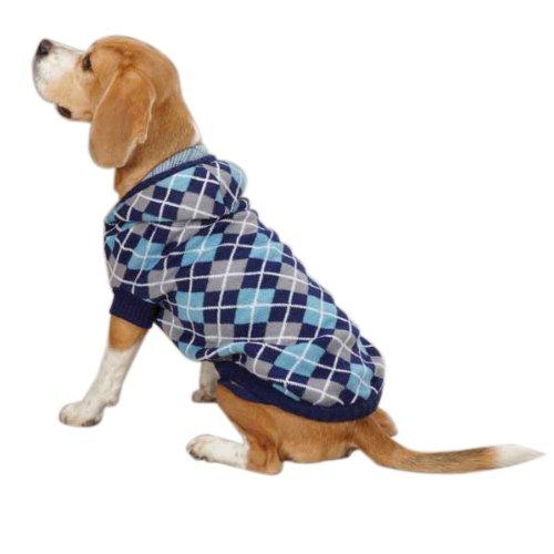 Eastside Collection ESC Kapuzen Argyle Pet Pullover–Navy Blau, XX-Small, Navy