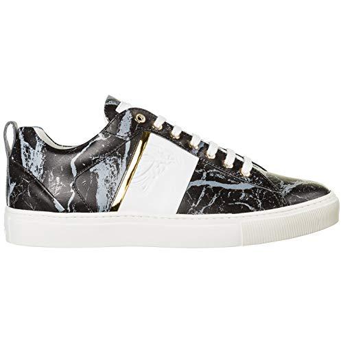 Versace Collection Herren Medusa Sneaker Nero - Grigio - ORO - Bianco 41 EU