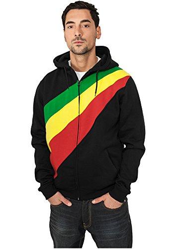 Diagonal Zip Hoody Black/Rasta