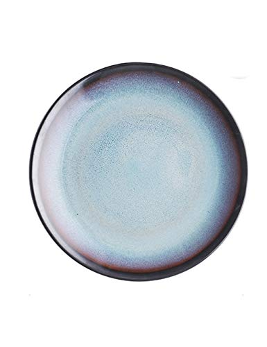 DS- Bol Assiette Plate Ronde en céramique de Couleur Unie pour Plat à Steak, Plat à pâtes, Plateau à collations (diamètre 21 cm de Hauteur 2,5 cm) &&