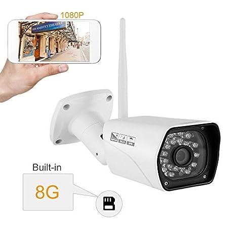 Caméra IP, INKERSCOOP IP Caméra de Surveillance Sans Fil Wifi 1080P, Caméra de Sécurité Étanche IP66, Vision Nocturne Infrarouge, Moniteur Vidéo& Vidéo Surveillance, Détection De Mouvement, Caméra Extérieure P2p Avec Carte SD 8G