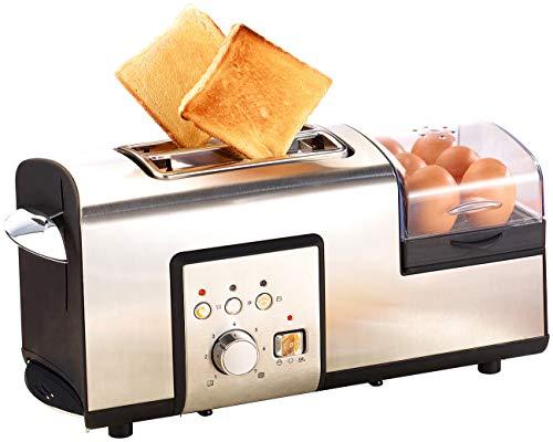 Rosenstein & Söhne Toaster mit Eierkocher: 3in1-Edelstahl-Multifunktionstoaster mit Eierkocher, 1.250 Watt (Multitoaster)