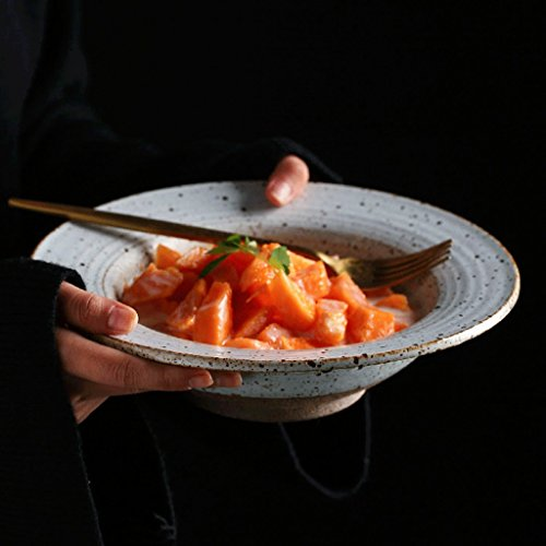 Fleurs Pinellia Assiette à Soupe de Style Chinois de 9 Pouces - Salade de Fruits de ménage Bol Vaisselle créative Céramique Bol de Soupe de Poulet