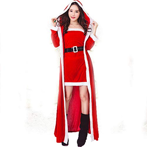 DUBAOBAO Weihnachtskostüm Dame, roter Weihnachtsanzug Rock + Mantel, Cord,Prinzessin Kostüme für Damen und Mädchen