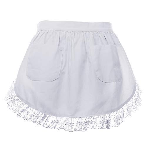 Für Kostüm Erwachsene Benutzerdefinierte - aspire Taille Schürze Lace Halbe Schürze Baumwollküche mit Zwei Taschen Dienstmädchen Kostüm