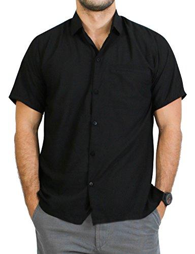 LA LEELA Men's Hawaiian Beach Shirt Button Down Front Pocket Short Sleeves Matching Pocket Rayon 5XL|Chest 66