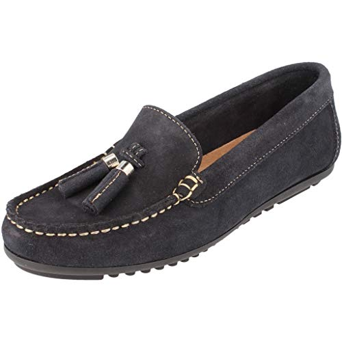 BOnova Damen Mokassin Capdapera in 4 Farben, Trendige Slipper aus hochwertigem Veloursleder - geschmeidige Loafer - hergestellt in der EU Navy blau 39