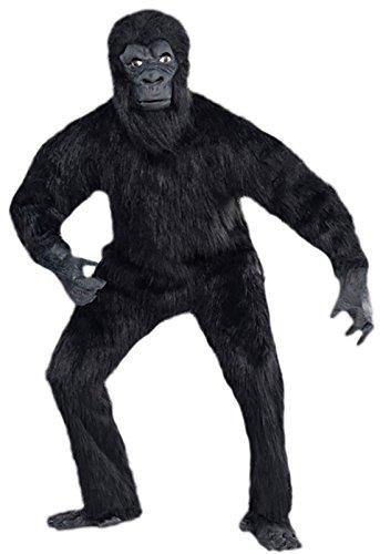 Halloweenia - Herren Karnevalskomplettkostüm Gorilla , Schwarz, One Size