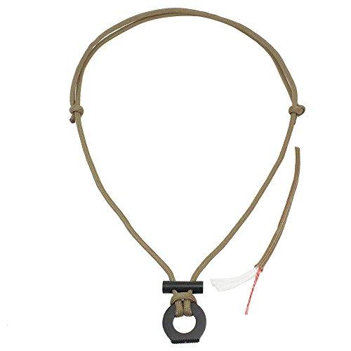 PSKOOK Feuerstarter Halskette Survival Gear Flint und Stahl Kit Paracord Survival Halskette Magnesium Ferro Rod Tool mit Zunder Cord (Khaki)