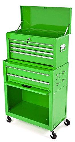 Grün Rolling Werkzeugschrank mit Top Brust