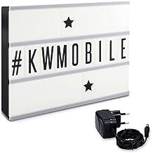 kwmobile Lightbox Cinema Insegna Luminosa - Lampada decorativa LED box Nero formato A4 210 Lettere Numeri Simboli neri - a batteria o alimentatore