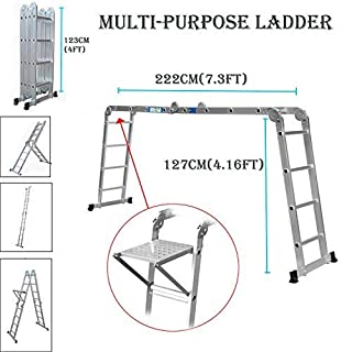 Multi-Function Ladder 4.7m 15.5ft Multi-Purpose Folding Aluminium Ladder Extendable Step Ladder with 1 Tool Tray Heavy Duty 150Kg Load Capacity, 4x4
