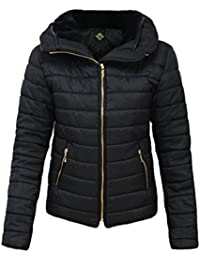CANDY FLOSS NEW LADIES WOMENS QUILTED PADDED PUFFER BUBBLE FUR COLLAR WARM THICK JACKET COAT