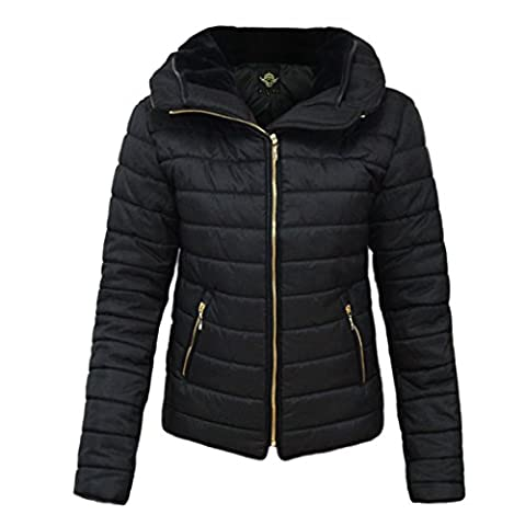 CANDY FLOSS NEW LADIES WOMENS QUILTED PADDED PUFFER BUBBLE FUR COLLAR WARM THICK JACKET COAT -