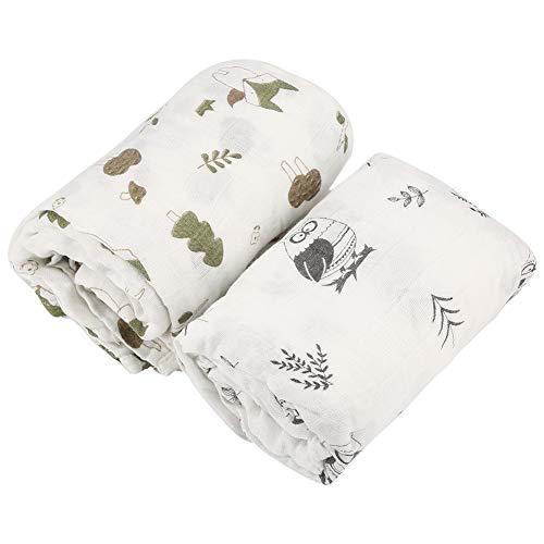 2 Stück Babydecke Bambusfaser Baumwolle Wickelauflage Kleinkind Bad/Fütterung Handtuch ()