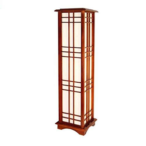 Moderne japanische Art-quadratische Form-Eichenholz-feste hölzerne Stehlampe mit warmem weißem Licht E27 LED für Schlafzimmerwohnzimmer (Color : Warm light-90cm) -