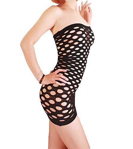 MissSoul Damen Dessous Sexy Erotik Reizwäsche Frauen Lingerie Body Wäsche Unterwäsche Negligee Trägerlos Mesh Höhle Korsett Minikleid,Schwarz (Lace Teddy Ruffle)