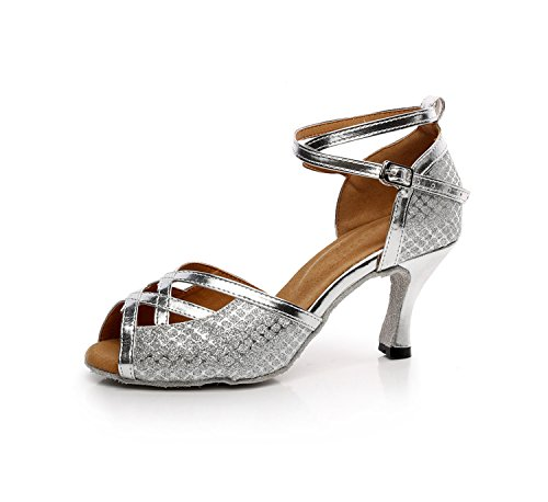 Minitoo ,  Damen Tanzschuhe Silver-7.5cm Heel
