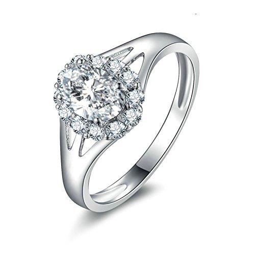 (Custom Ringe)Adisaer Ring 925 Sterling Silber Damen Diamant Tropfen Strass Trauringe Größe 60 (19.1) (Pferd Arabische Muster Das Kostüm)