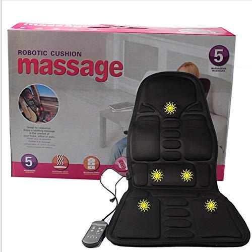 JesseBro Massage Mattress Full Body Heated Massager Mat Remote Control Cushion Foldable Black -