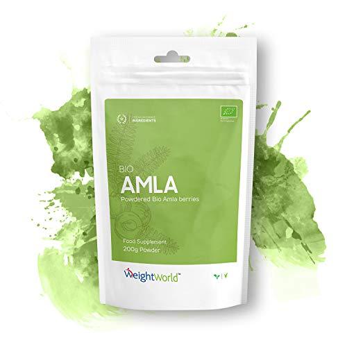 AMLA BIO EN POUDRE - Véritable Amla d'Inde - 100% Naturel - Qualité Premium - Médecine Ayurvédique - Santé du Cœur - Digestion - Beauté des Cheveux - Défenses Immunitaire -Végans-200g- par WeighWorld