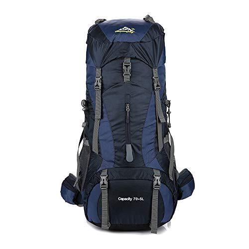 NOBIE 70L + 5L Grande Capacité Sacs à Dos de Randonnée Sac d'alpinisme Sifflet de Sauvetage Être Applicable À Pied Voyage Aventure Camping et Autres Sports de Plein Air,Darkblue