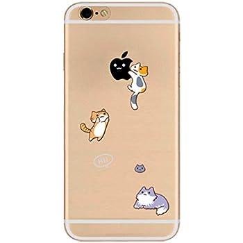 Freessom Coque Iphone 5 5s Silicone Transparent Motif Chat Animaux Drole Apple Dessin Noir Kawaii Original Antichoc Souple Ultra Mince Fine Cadeau Pas