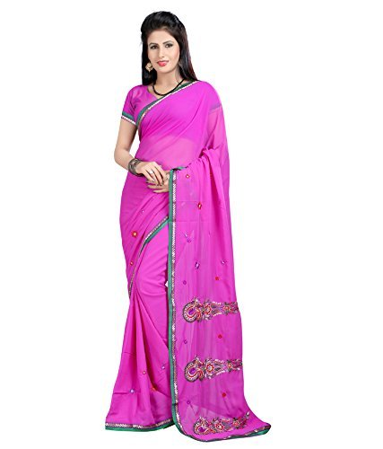 Sarees (Women's Clothing Saree For Women Latest Design Wear Sarees New Collection in PINK Coloured HEAVY GEORGETTE Material Latest Saree With Designer Blouse Free Size Beautiful Bollywood Saree For Women Party Wear Offer Designer Sarees With Blouse Piece)  available at amazon for Rs.499