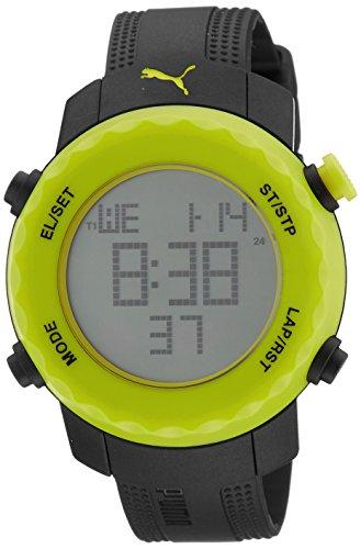 Puma Sharp Unisex Digital Watch with Yellow Dial Digital Display and Black PU Strap PU911031002
