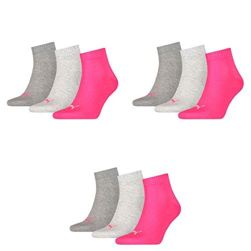 9 Paar Puma Unisex Quarter Socken Sneaker Gr. 35 - 49 für Damen Herren Füßlinge, Farbe:656 - middle grey mélange/pink, Socken & Strümpfe:39-42