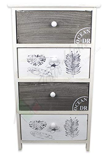 Tata home mobiletto comodino da bagno camera o ingresso 4 cassetti bianco e grigio in legno stile moderno dimensioni 40x29x73 cm modello pascal