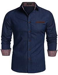 Coofandy Jeanshemd Herren Denim Shirt Langarmhemd Cowboy-Style Freizeit Hemd  männer Kent-Kragen 436582eb1f