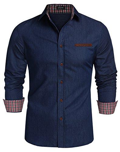 Coofandy Jeanshemden Herren regular fit Denim Shirt Langarmhemd Cowboy-Style Freizeit Hemden , Farbe - Dunkelblau , Gr. L
