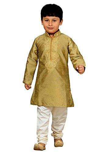 Jungen Indian Sherwani Kurta Kameez mit pyjama für Bollywood-thema party outfit kostüm 905 - Gold, 12 ( 12 yrs)