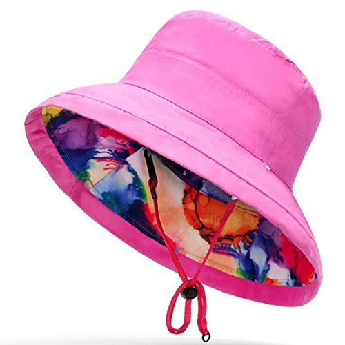 ZPAYFSDS Damen Hut mit Blumenmuster, Hawaii-Hut - Pink - Einheitsgröße