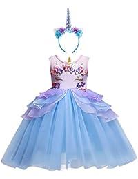 Niña Vestido 2PCS Princesa Unicornio Disfraz de Verano Cosplay Tutu Falda para Arco Iris Fiesta Carnaval Bautizo Cumpleaños Comunión Boda Flor Niñas Dama de Honor Velada Navidad Actuación Ceremonia