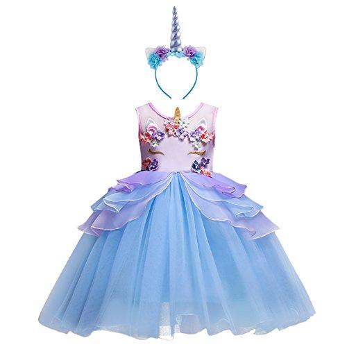 FYMNSI Kinder Mädchen Einhorn Kostüme Tütü Kleid Blume Rüschen Halloween Unicorn Cosplay...