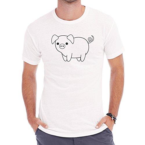 Pig Animal Farm Hog White Small Black Eye Herren T-Shirt Weiß