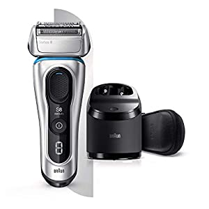 Braun Series 8 8391cc Next Generation, Electric Shaver, Clean and Charge Station, Leather Case, Silver