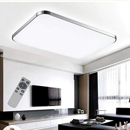 COOSNUG 72W Dimmbar Ultraslim LED Deckenleuchte Modern Deckenlampe Schlafzimmer Küche Flur Wohnzimmer Lampe (Silber Dimmbar 3000-6500K)