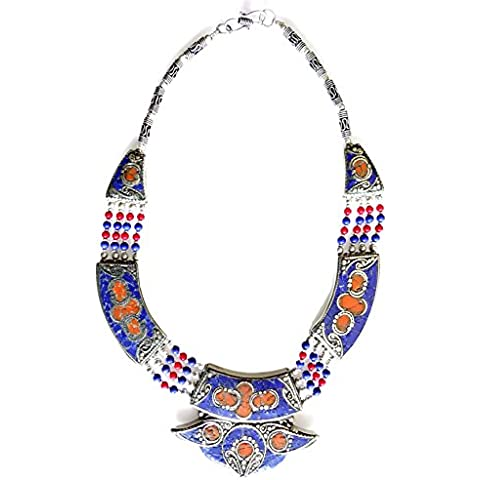 BLU LAPISLAZZULI & CORALLO epoca collana argento per le donne ossidato argento tibetano COLLANA DA argento