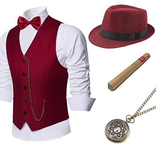 Coucoland 1920s Accessoires Herren Mafia Gatsby Kostüm Set inklusive Panama Gangster Hut Herren Weste Halsschleife Fliege Taschenuhr und Plastik Zigarre (Weinrot, M)