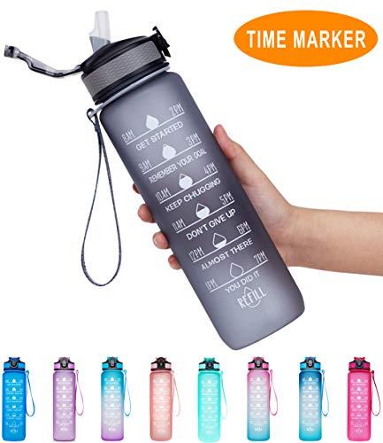 Giotto Trinkflasche mit Zeitmarkierung und Strohhalm, auslaufsicher, BPA-frei, für Fitness- und Outdoor-Enthusiasten, A8 Grau (32 oz), 32oz