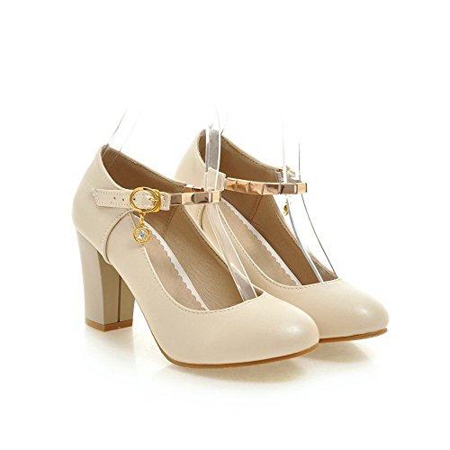 VogueZone009 Damen Rein Hoher Absatz Schnalle Rund Zehe Pumps Schuhe Aprikosen Farbe