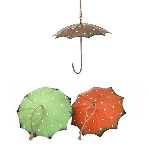 Gartenallerlei Regenschirm zur Aufhängung von Meisenknödeln 15cm Durchmesser, 3er Set in orange, grün u. braun by