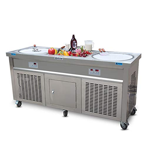 Frei Lieferung CE RoHS 50 cm Double Runde Pfannen Snack Street Food Maschine Fry Rolle Eis Maschine Thai sofort Stir Fried Eis Rolle Maschine mit 10 Vorkühlung Tanks, Full Kältemittel und Sneeze Guard Food Equipment Manufacturers