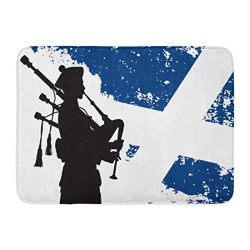 Goodshope Fußmatte für den Innen- und Außenbereich, Blauer Dudelsack-Silhouette von Dudelsack-Silhouette, Schottische Flagge, Militär, Rutschfester Teppich, 40,6 x 61 cm